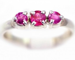 SIZE 7 PINK  AUSTRALIAN SAPPHIRES SET IN SILVER RING [SJ4542]