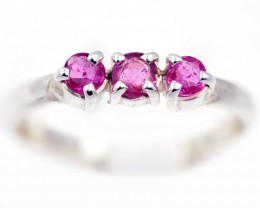 SIZE 7 PINK  AUSTRALIAN SAPPHIRES SET IN SILVER RING [SJ4543]