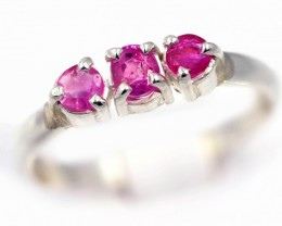 SIZE 7 PINK  AUSTRALIAN SAPPHIRES SET IN SILVER RING [SJ4544]