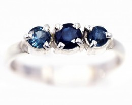 SIZE 7 BLUE AUSTRALIAN SAPPHIRES SET IN SILVER RING [SJ4546]5