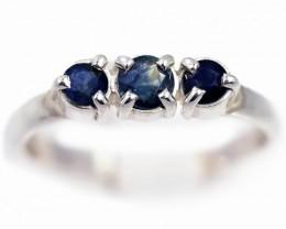 SIZE 7 BLUE AUSTRALIAN SAPPHIRES SET IN SILVER RING [SJ4552]