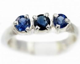 SIZE 7 BLUE AUSTRALIAN SAPPHIRES SET IN SILVER RING [SJ4555]