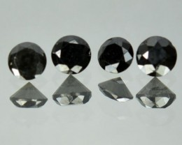 0.56 Cts Natural Black Diamond Round 4 Pcs Africa