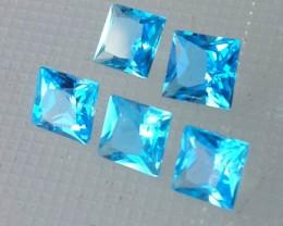 7.40 CTS SUPERIOR! TOP PRINCESS CUT SHAPE SWISS BLUE-TOPAZ GENUINE 5 PCS