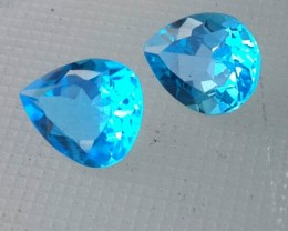 10.30 CTS DAZZLING NATURAL ULTRA RARE SWISS BLUE TOPAZ PEAR CUT BRAZIL 2 PC