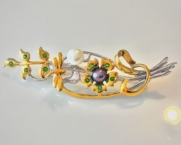 'Dragonfly Dreaming' Pearl Chrome Diopside Brooch Sterling and Gold