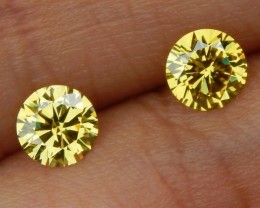 0.83cts, Yellow Diamond Pair,  Certified,  Top Quality,  High End Stones