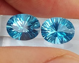5.28cts, Electric Blue Topaz Pair, Concave Cut,  Calibrated
