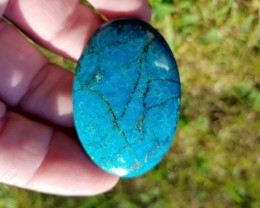 44mm Chrysocolla turqoise gem silica oval Cabochon 56ct