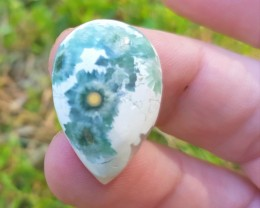 25mm 17ct Ocean Jasper pear cabochon