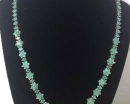 Stunning $2700 Natural 188.25tcw. Top Rich Green Emerald Flower Necklace Un