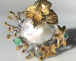 'Island Flowers' Baroque Pearl Emerald Ring Gold and Silver Size 9.5