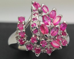 28.59ct Stamped 925 Silver Ring Sz 8 Natural Ruby