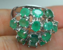 39.62ct Stamped 925 Silver Ring Sz 7.5 Natural Emerald