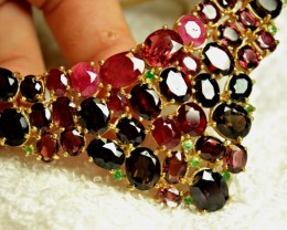396.0 Tcw. Garnet, Ruby, Tourmaline 925 Silver, 14k White Gold Necklace