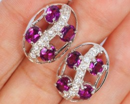28ct Natural Garnet with CZ 925 Sterling Silver Earrings