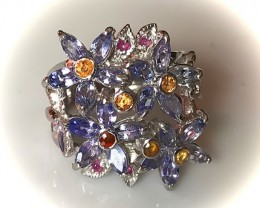 Exquisite Tanzanite Sapphire Ruby Daisy Ring Size 9