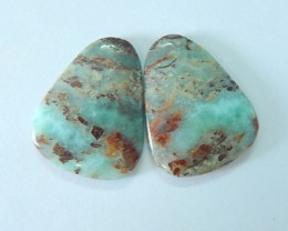 47.5ct Semiprecious Stone Larimar Cabochon Pair For Women(17070901)