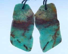 37.5ct Natural Chrysocolla Nugget Earrings For Women(17070914)