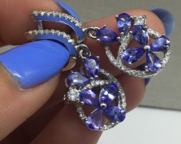 Stunning $775 Natural 28.9tcw. Tanzanite Earrings Untreated