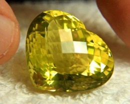 58.22 Carat Natural African Cushion VVS/VS Lemon Quartz Heart - Superb