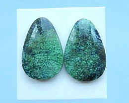 33.5ct Natural Chrysoprase Teardrop Cabochon Pair,2017 Hot Fashion Jewelry