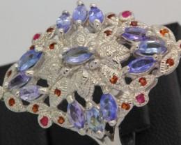 39.47ct Stamped 925 Silver Ring Sz 8.5 Tanzanite Ruby Garnet