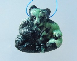 64ct Natural Green Turquoise Carving Bear Pendant(17071102)