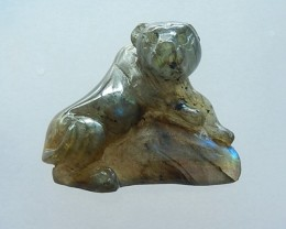 90ct Natural Labradorite Carving Tiger Cabochon(17071104)
