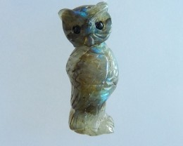 48ct Natural Labradorite Carving  owl  Cabochon(17071105)