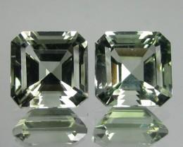 7.83 Cts Natural Green Amethyst/Prasiolite 2 Pcs Brazil Gem