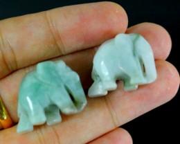 107.69Ct Natural Grade A 2Pcs Elephant Green Jadeite Jade