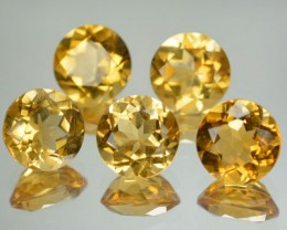 9.09 Cts Natural Golden Yellow Citrine 8 mm Round 5 Pcs Parcel