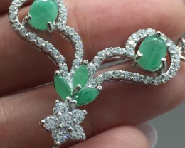 Stunning $975 Natural 57.7tcw. Emerald Necklace Unheated