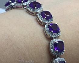 Stunning $1600 Natural 57.15tcw. Purple Amethyst Bracelet Unheated