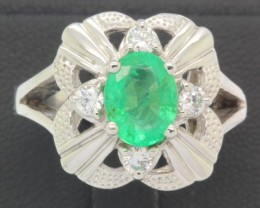 39.58ct 925 Sterling Silver Natural Emerald Ring size 8