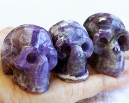 Cute Amethyst family Gemstone Skull  PPP 1362