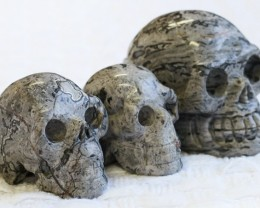 Cute Grey Crazy Agate family Gemstone Skull  PPP 1354