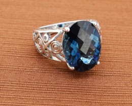 Classy London Blue Topaz 925 Sterling Silver Ring - Size 6