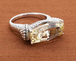 "Edgy Citrine 925 Sterling Silver Ring Size - 10 ""A Statement piece&amp"