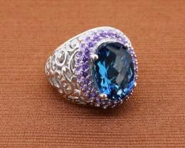 Striking London Blue Topaz & Amethyst 925 Sterling Silver Ring Size - 6