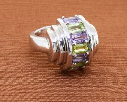 Bold Peridot & Amethyst 925 Sterling Silver Ring, Size 6