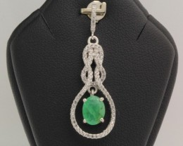 13.66ct Stamped 925 Silver Natural Emerald Pendant