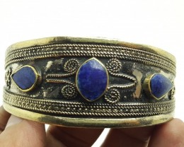 112.30 Crt Antique Style Afghani Bangle with Lapis Lazuli Gemstone (M 44)