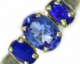 6.5 SIZE  TANZANITE AND OPAL RING  -FACTYORY DIRECT [SJ4556]