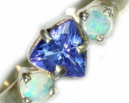 6.5 SIZE  TANZANITE AND OPAL RING  -FACTYORY DIRECT [SJ4557]