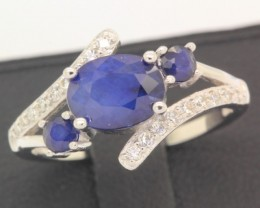 13.68ct 925 Sterling Silver Natural Blue Sapphire Ring size 6.75
