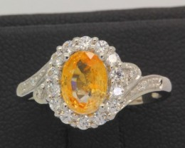 10.02ct 925 Sterling Silver Natural Yellow Sapphire Ring Size 6.25