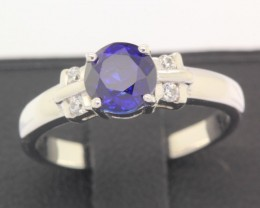 12.86ct 925 Sterling Silver Natural Blue Sapphire Ring size 5.25