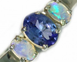 7 SIZE  TANZANITE AND OPAL RING  -FACTYORY DIRECT [SJ4559]